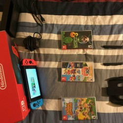 Nintendo Switch 32GB Video Game Console w/ Neon Blue & Red Joy-con + 3 Games