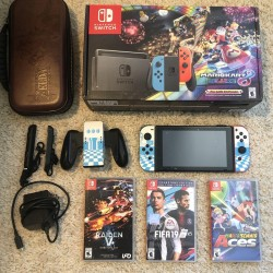 Nintendo Switch with Blue and Red  Controllers and Mario Kart 8 Bundle + Games
