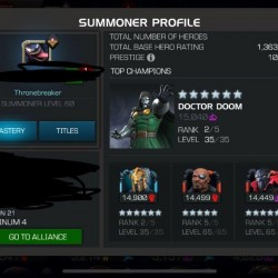 Marvel contest of champions account; 10.5k Prestige, AOL Easy path complete.