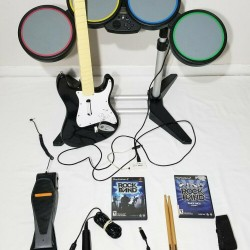 Rock Band PS2 PS3 PS4 Wired Drum Set Bundle Guitar, Mic, 2 (PS2) Games, Dongle