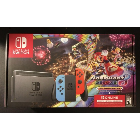 Nintendo Switch Blue Red Joy-Con Controllers and Mario Kart 8 Bundle (digital)