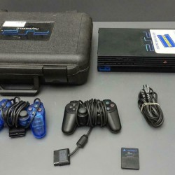 RARE Blockbuster Playstation 2 Hard Rental Case COMPLETE w/ Console + Extras