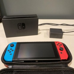 Nintendo Switch 32GB Neon Red/Neon Blue Console - Less Than 5 Hours On It!