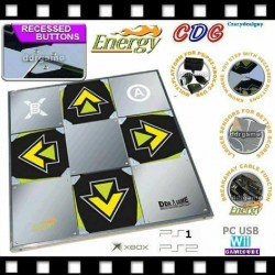 Recessed Button Energy Metal DDR Dance Pad for Wii, GC USB PC, PS2, PS1 and Xbox