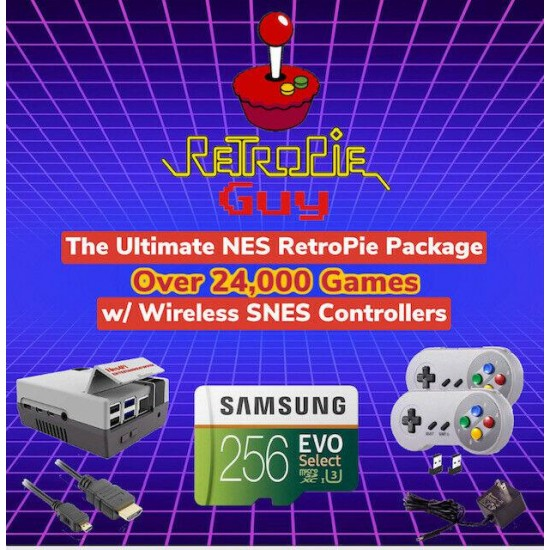 RetroPie Guy NES 256GB Package Wireless SNES Controllers Cables Raspberry Pi 4