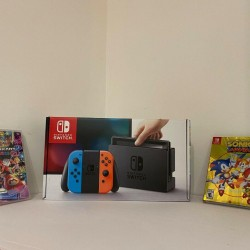 Nintendo Switch Console Neon Blue & Red w/ Mario Kart 8 Deluxe & Sonic Mania