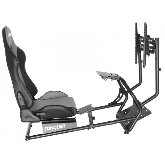 Conquer Race Simulator with Single Monitor Stand Racing Seat Cockpit, Gaming
