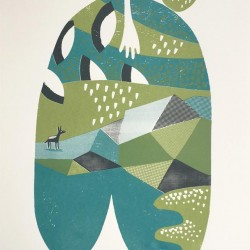 Happenings in Donkey World No.5 3-colour A2 screen print (green, teal   grey)
