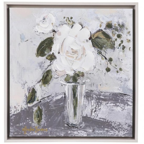 White Rose In Vase Canvas Wall  cor