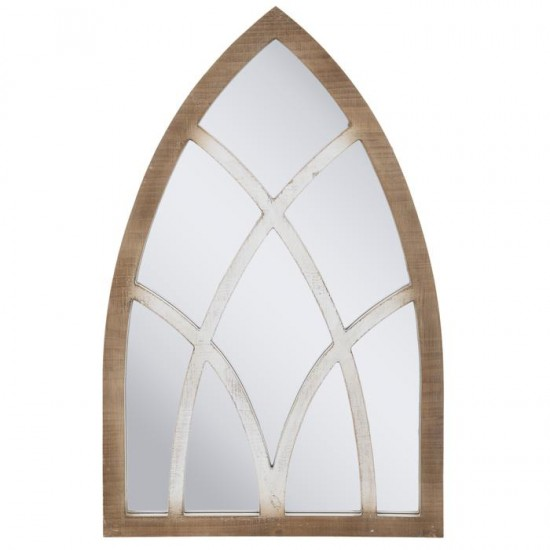Rustic Ca dral Arch Wood Wall Mirror