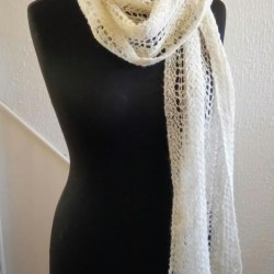 pun and Hand-knitted luxury Scarf in North Ronaldsay Wool