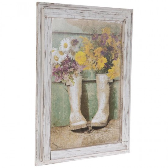 Flowers In Boots Framed Wall  cor