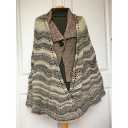 Old Shale Shawl h  knitted in soft wool yarn