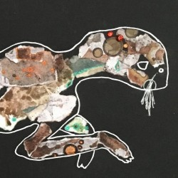 Dried Cat   Original Collage Painting