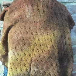 MoBair Baby Alpaca H  dyed Stole Autumnal Colours 72x26