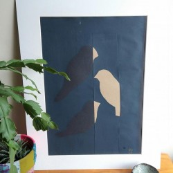 Three Small  s Paper Screen Print with Collage