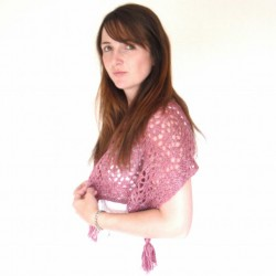 Summer h  knit pink lace shawl in cherry red pink