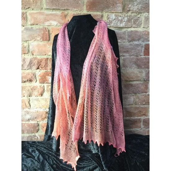 MoBair Hand Dyed Cotton and Silk Stole  set 72x26