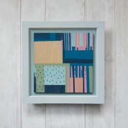 Framed Screenprint on Wood - Abstract Print - H  Printed One of a Kind