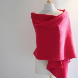 Wrap - Shawl -  h crafted From British Spun Lambswool - Colour Raspberry
