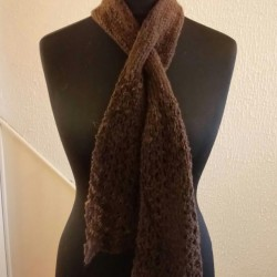 pun and Hand-knitted Slotted Scarf in North Ronaldsay Wool
