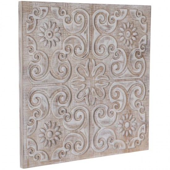 Whitewash Carved Floral Wood Wall  cor