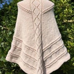 H  knitted Lace Shawl in soft Champagne colour yarn