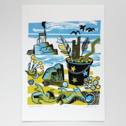 Beach Findings screen print limited edition, h  pulled print
