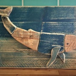 Blue Whale Drift Wood Carved Picture
