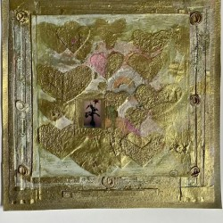 Floating hea  mixed media collage small scale wall art