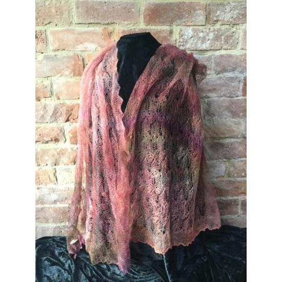 MoBair H  Dyed R om Pinks Kid Mohair Lace Stole 72x26