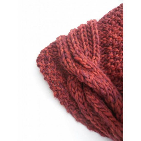 Maroon chunky wool knit stole , red h  knitted cowl