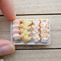 Easter Biscuits Set Miniature   Choose Your Set   Dolls House Miniature Food   B