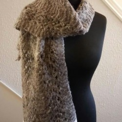 pun and Hand-knitted Scarf in Soay Wool