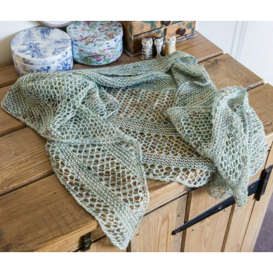 Reversible shawl or scarf in a crescent shape, h  knit in pretty pale blue