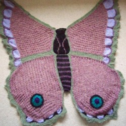 H  knitted Pink Butterfly Shawl