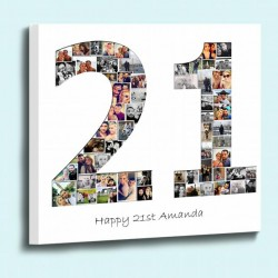 Personalised number shape photo collage box framed c vas print ready to h g